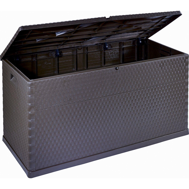 Kissenbox geflechtoptik anthrazit 63 cm x 120 cm x 57 cm - Obi ch ...