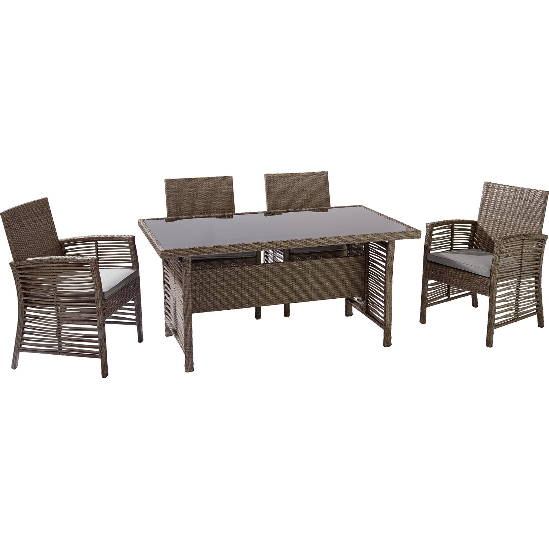 obi wicker dining set fallston 5 teilig kaufen bei obi. Black Bedroom Furniture Sets. Home Design Ideas