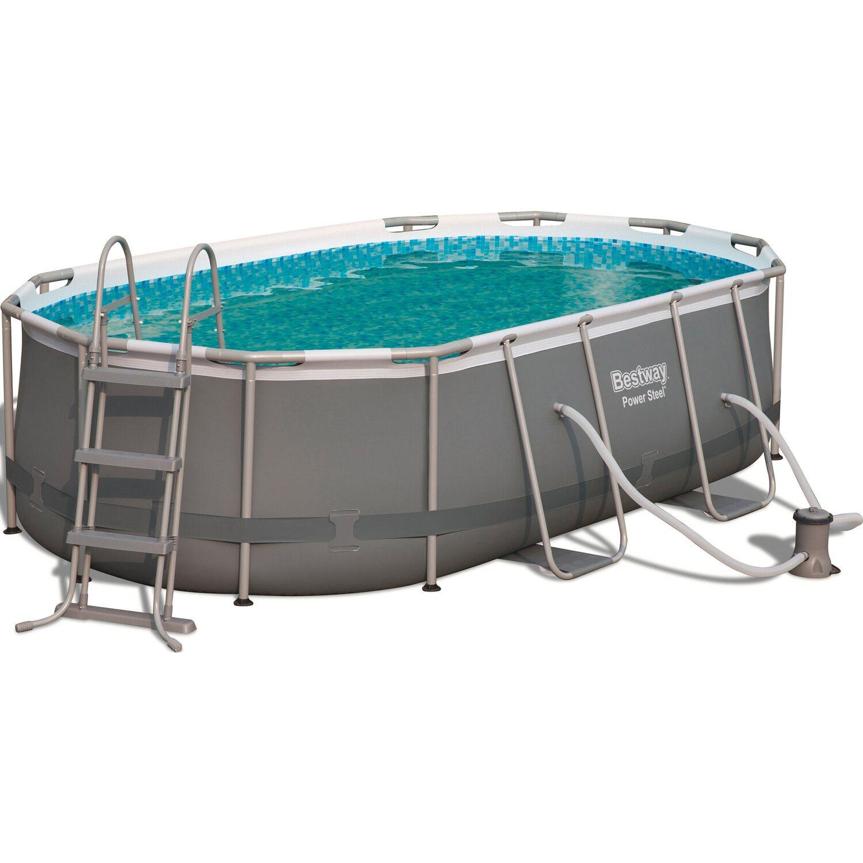 bestway power steel frame pool set oval 424 cm x 250 cm x 100 cm kaufen bei obi. Black Bedroom Furniture Sets. Home Design Ideas