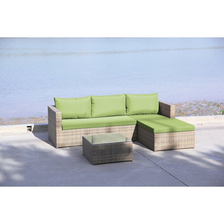 Gartenmöbelgruppe Stanton 3-teilig Grau/Lime kaufen bei OBI