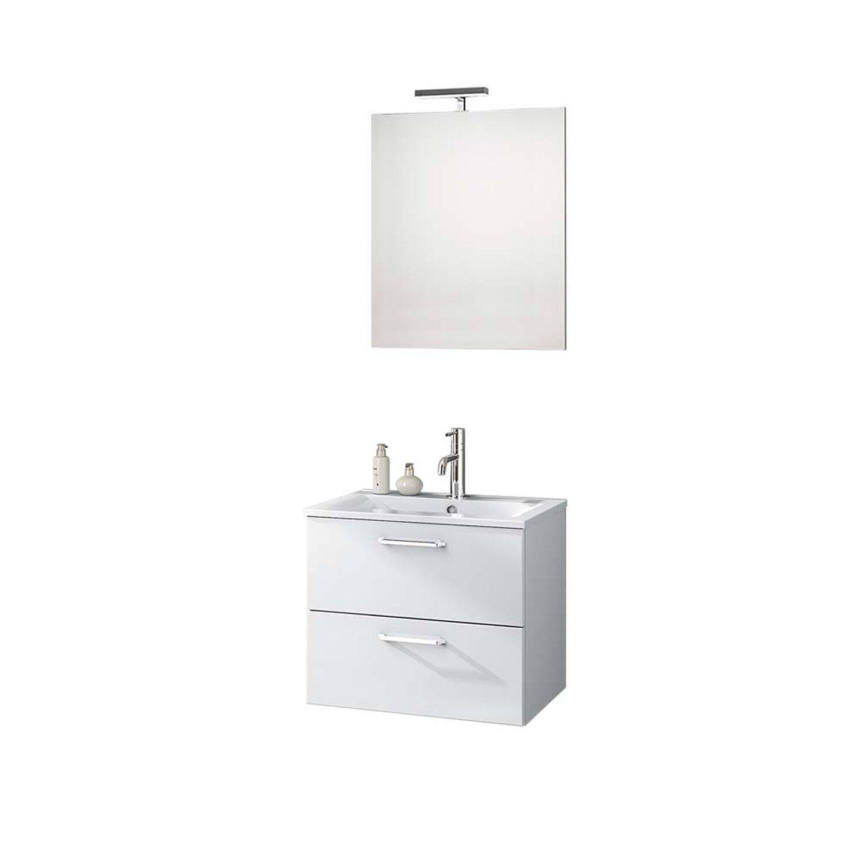 Badmöbel-Set NOA glänzend Weiss lackiert mit Flächenspiegel kaufen ...