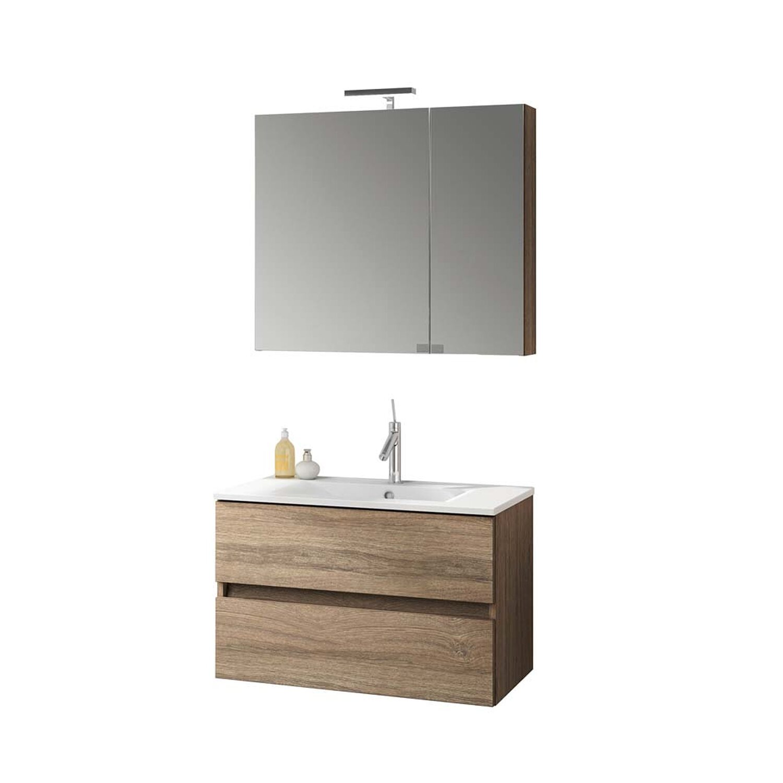 Badmöbel-Set KORA Nabucco Eiche mit Spiegelschrank kaufen bei OBI
