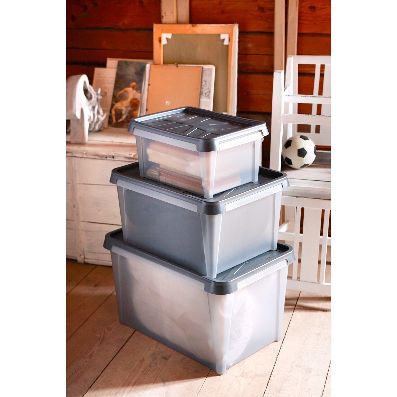aufbewahrungsbox smartstore drybox 15 semi transparent grau 12 l kaufen bei obi. Black Bedroom Furniture Sets. Home Design Ideas