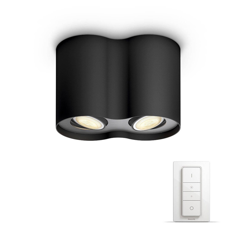 philips hue led spot eek a pillar schwarz 2 flammig inkl dimmschalter kaufen bei obi. Black Bedroom Furniture Sets. Home Design Ideas