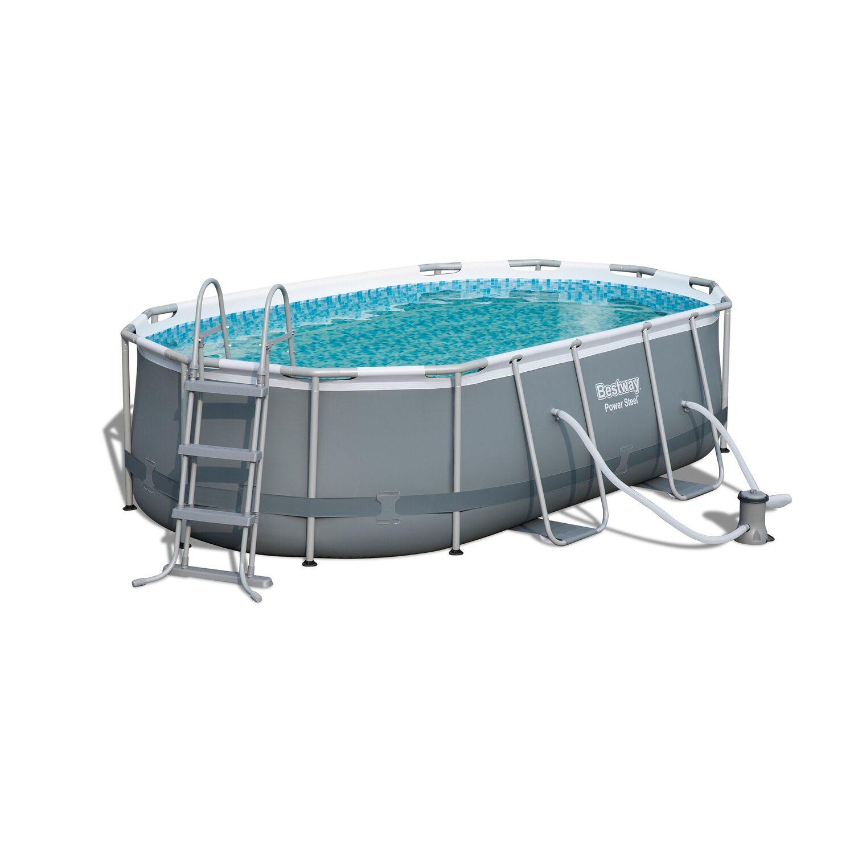 Bestway Oval Frame Pool 424 Cm X 250 Cm X 100 Cm Kaufen