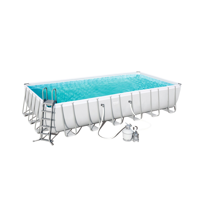 Bestway power steel rectangular frame pool 732 cm x 366 cm for Frame pool obi