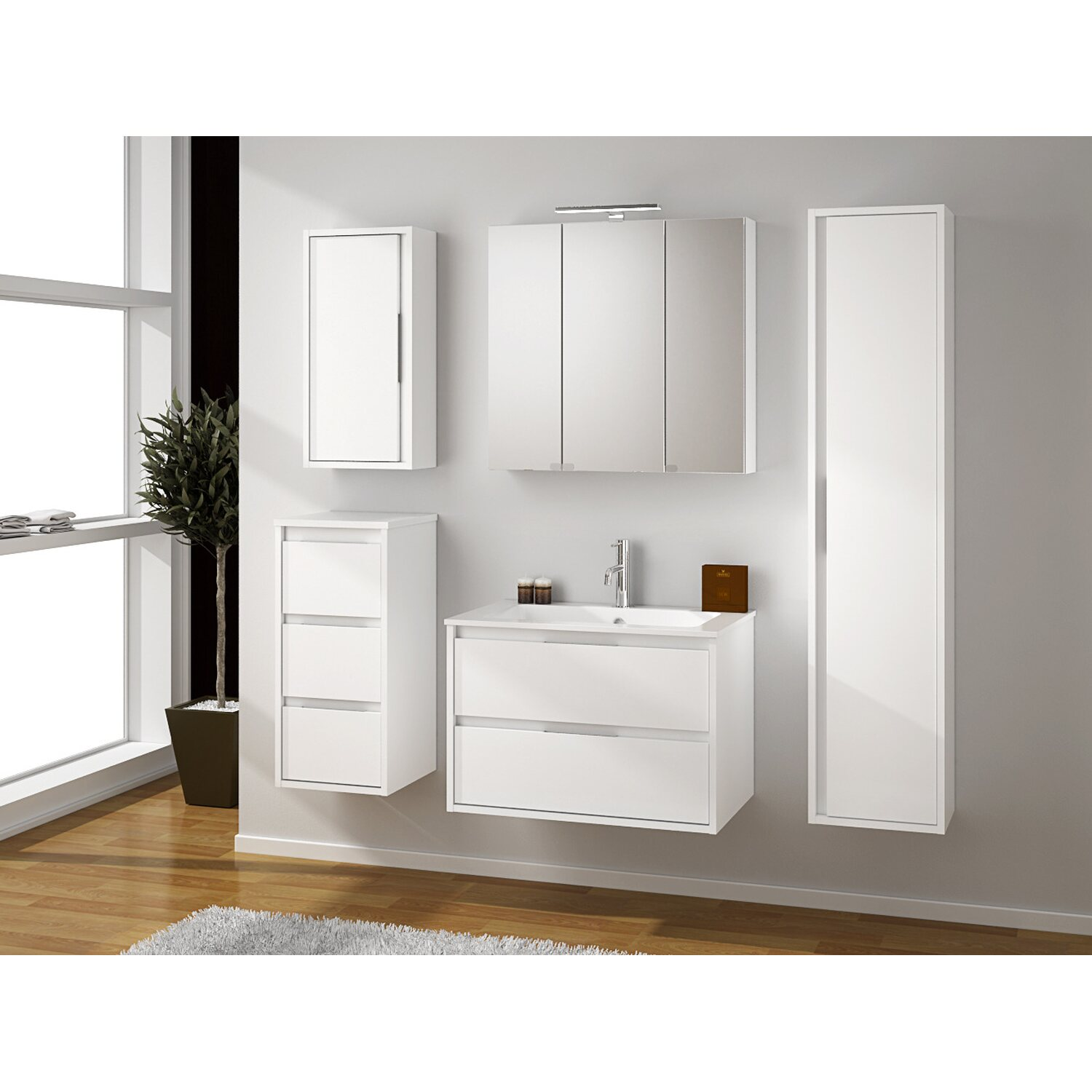 spiegelschrank loto 75 cm mit 3 t ren gl nzend weiss lackiert kaufen bei obi. Black Bedroom Furniture Sets. Home Design Ideas