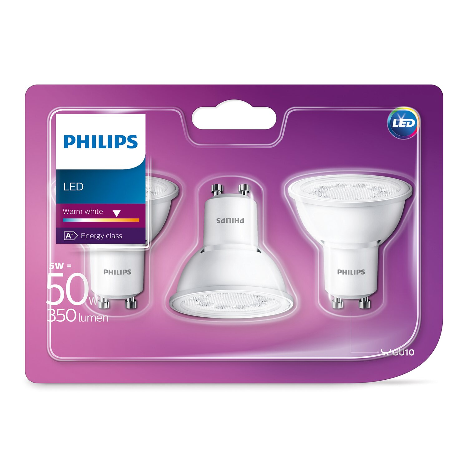philips led leuchtmittel eek a gu10 reflektor 5 w 350 lm 3er set warmweiss kaufen bei obi. Black Bedroom Furniture Sets. Home Design Ideas
