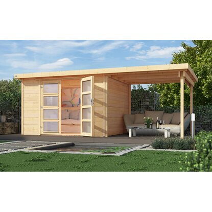 weka gartenhaus 321 mit anbau 230 cm gr 1 natur kaufen bei obi. Black Bedroom Furniture Sets. Home Design Ideas