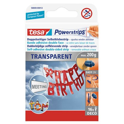 tesa Powerstrips Deco Transparent 16 Strips 4,5 cm x 1,5 cm