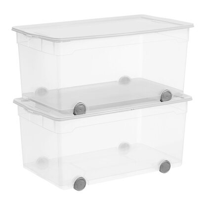 Rotho Clear Box Roller 4 Transparent 63 l 2er-Set