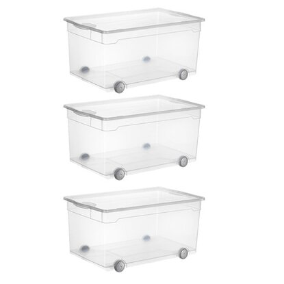 Rotho Clear Box Roller 4 Transparent 63 l 3er-Set