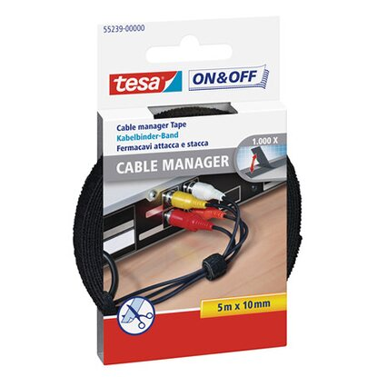 tesa On & Off Cable Manager Universal Schwarz 5 m x 10 mm