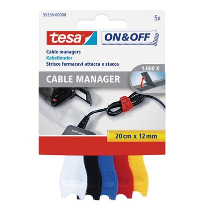 tesa On & Off Cable Manager Small 20 cm x 12 mm Bunt