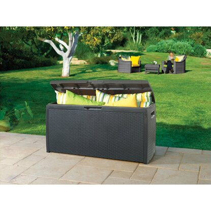 Gartenbox in Rattan-Optik 265 l Anthrazit