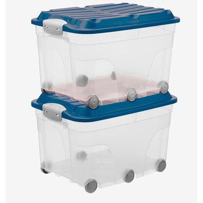 Rotho Roller Box 6 Blau-Transparent 2er-Set