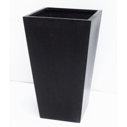 Gartec Polyterrazzo Square Conic Pot High 38 cm Schwarz