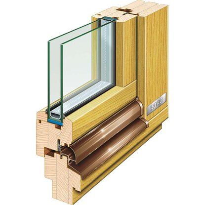 Holz-Fenster 98 cm x 98 cm DIN links