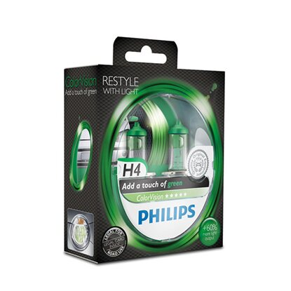 Philips ColorVision Halogen H4 Grün