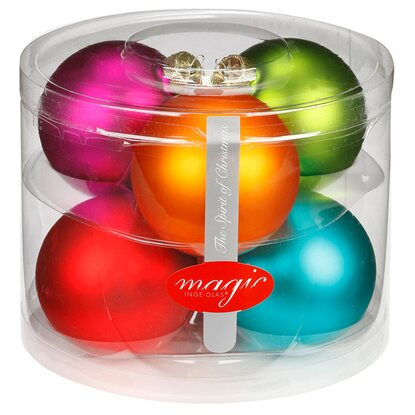 Magic Weihnachtsbaumkugel-Set Glas 6-tlg. 80 mm Mille Fiori Mix