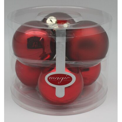 Magic Weihnachtsbaumkugel-Set Glas 6-tlg. 80 mm Ruby Red Mix