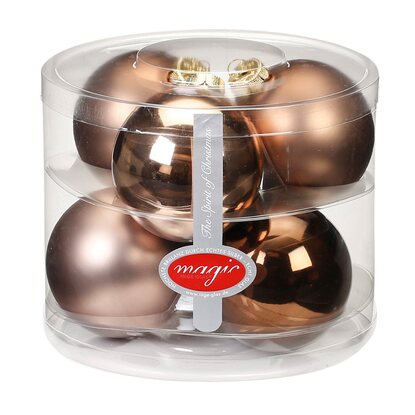 Magic Weihnachtsbaumkugel-Set Glas 6-tlg. 80 mm Elegant Lounge Mix