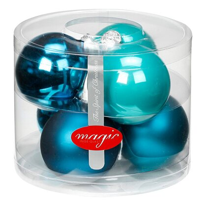 Magic Weihnachtsbaumkugel-Set Glas 6-tlg. 80 mm Dazzling Club Mix
