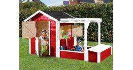 Kinderspielplatz Federico Rot-Weiss mit Sandkasten und Aufbewahrungstruhe