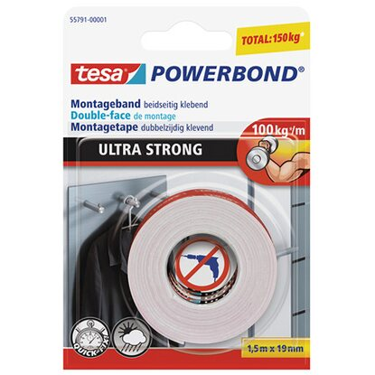 Tesa Powerbond Montageband Ultra Strong 1,5 m x 19 mm