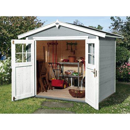 obi holz gartenhaus monza b grau weiss 205 cm x 209 cm kaufen bei obi. Black Bedroom Furniture Sets. Home Design Ideas