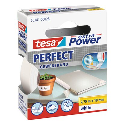 Tesa Extra Power Perfect Gewebeband Weiss 2,75 m x 19 mm