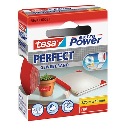 tesa Extra Power Perfect Gewebeband Rot 2,75 m x 19 mm