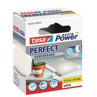 Tesa Extra Power Perfect Gewebeband Weiss 2,75 m x 38 mm