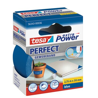 tesa Extra Power Perfect Gewebeband Blau 2,75 m x 38 mm