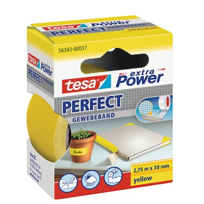tesa Extra Power Perfect Gewebeband Gelb 2,75 m x 38 mm