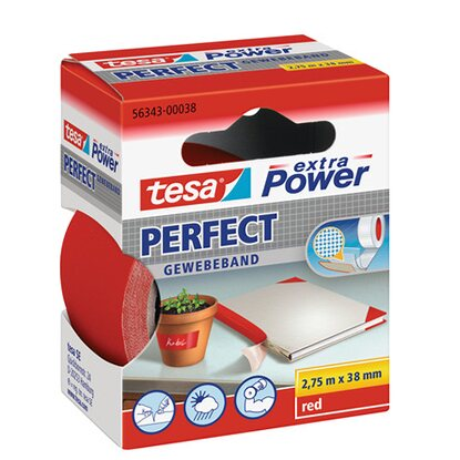 tesa Extra Power Perfect Gewebeband Rot 2,75 m x 38 mm