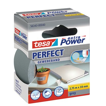 Tesa Extra Power Perfect Gewebeband Grau 2,75 m x 38 mm