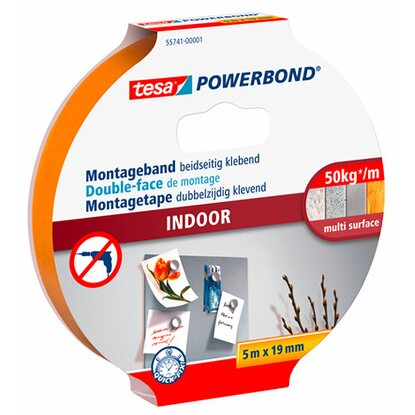 Tesa Powerbond Montageband Indoor 5 m x 19 mm