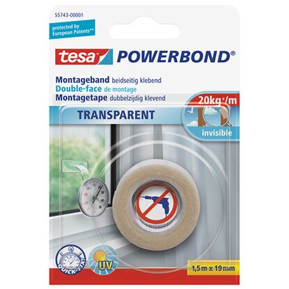 tesa Powerbond Montageband Transparent 1,5 m x 19 mm
